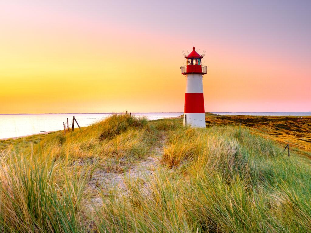 Sylt, Schleswig-Holstein, Germany - Leuchtturm List Ost on Ellenbogen beach.