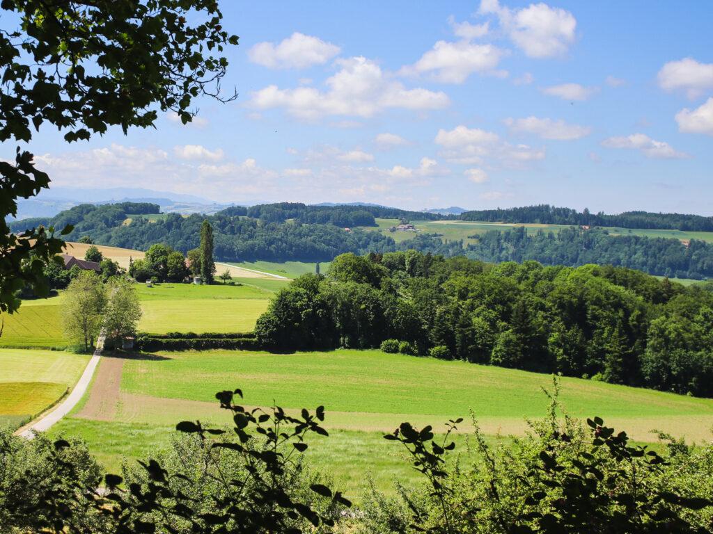 Vista dal giardino del castello a Utzigen